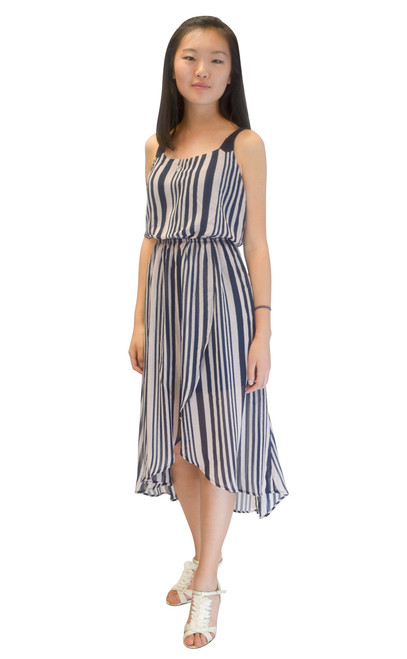Dress - Navy with Stripes