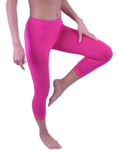Capri Leggings - Cotton, Lace (Misses and Misses Plus Sizes)