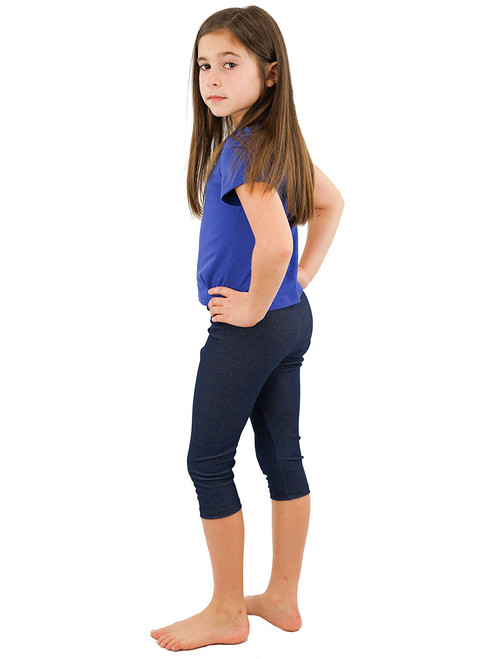 Capri Leggings - Girls, Knit Denim