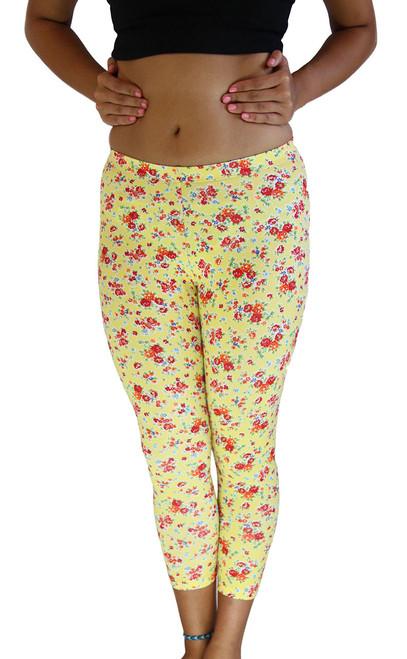 be208746d4bea8 Flowers Vivians Fashions Long Leggings Yellow Junior and Junior Plus Sizes