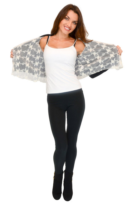 Sweater - Open Front Sweater Cardigan with Lace Insert