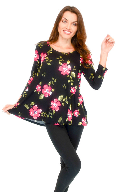 Top - 3/4 Sleeve, Floral Print