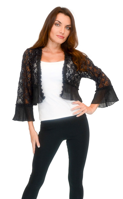 Sweater - Black Embroidery Lace Shawl
