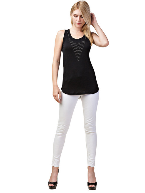 Top - Tank Top with Rhinestones, Sleeveless