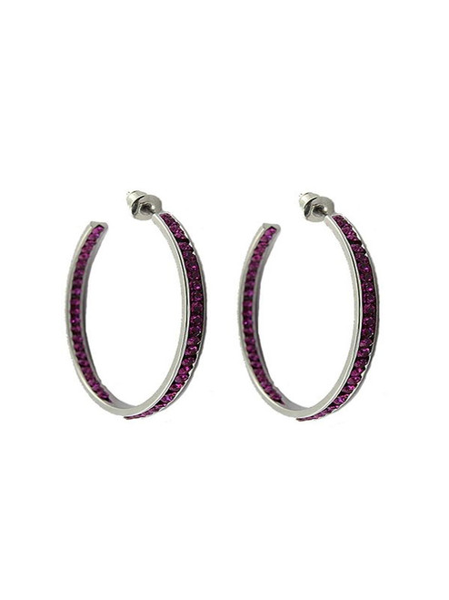 Crystal Hoop Earrings - Purple