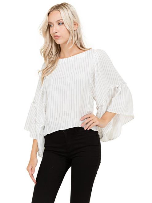 Top - Stripe Top, Ruffle Sleeves