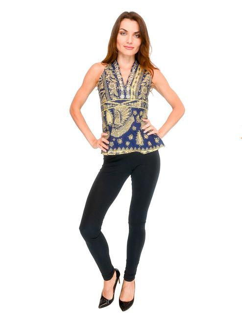 Top - High Color Beaded Neck Trim Elegant Batik Top