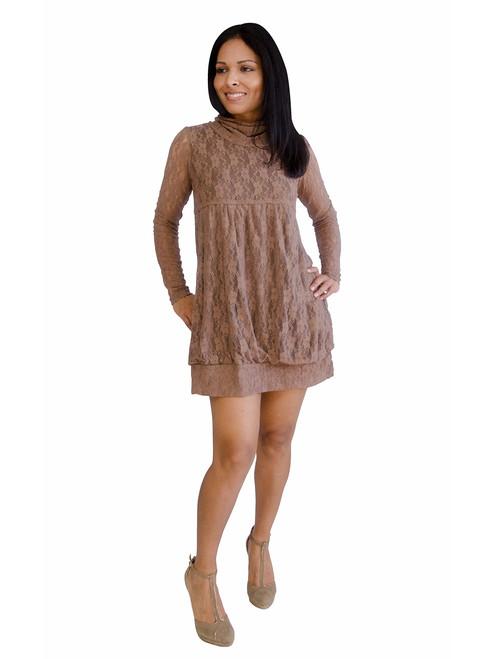 Women's Dress - Turtle Neck, Long Sleeve