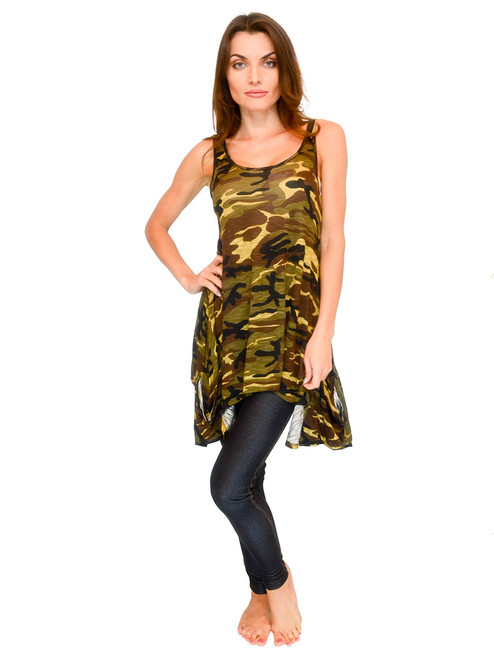 Top - Handkerchief Tank with Camouflage Print