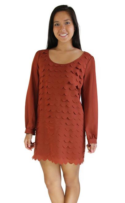 Dress - Scallop Cut Texture Dress, Long Sleeves