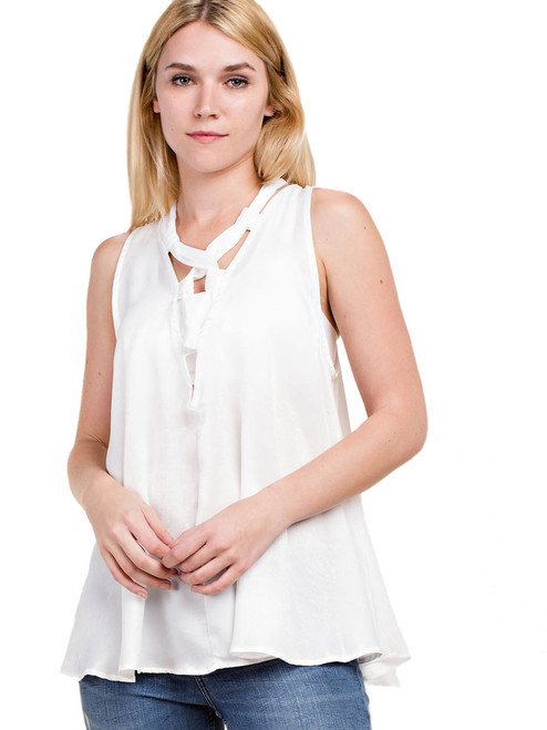 Top - Top with Satin Lace-Up Detail, Sleeveless