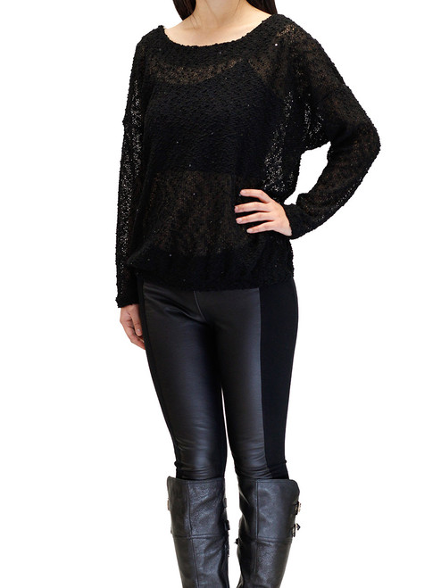 Sweater - Knit Sweater, Black Sequined