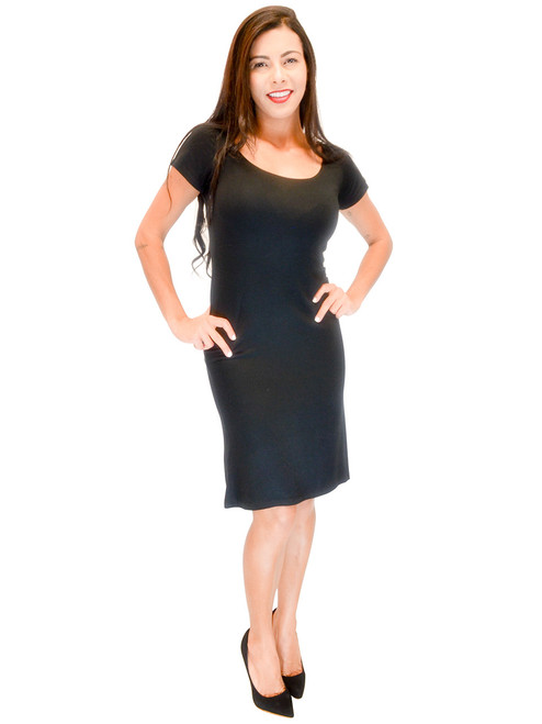 Vivian's Fashions Dress - Short Black Dress, Short Sleeves