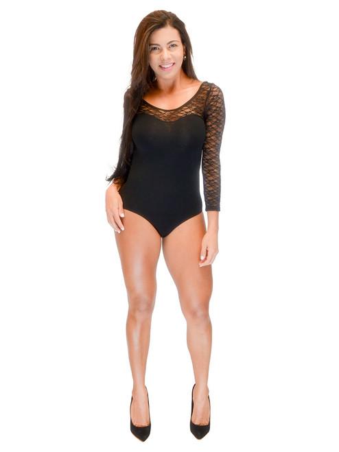 Top - Lace Bodysuit, Long Sleeve