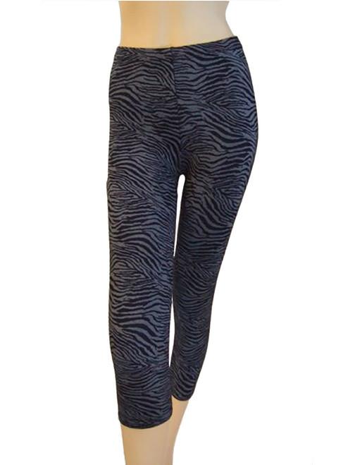Capri Leggings - Blue Zebra Print (Junior Size)
