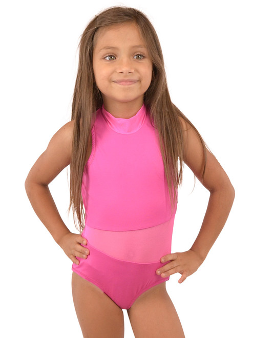 Vivian's Fashions Dancewear - Girls Mesh Piecing Sleeveless Leotard