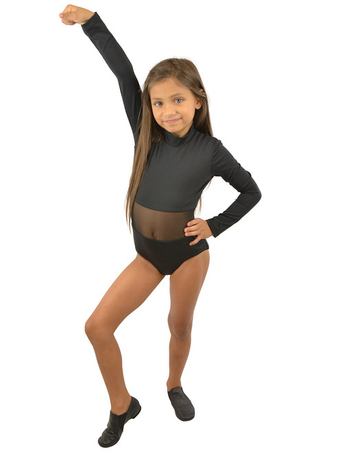 Vivian's Fashions Dancewear - Girls Mesh Piecing Long Sleeves Leotard