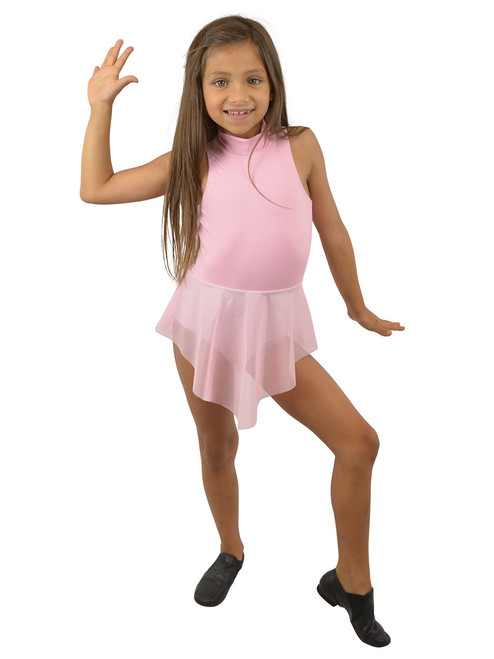 Vivian's Fashions Dancewear - Girls Attached Mesh Skirt Sleeveless Leotard