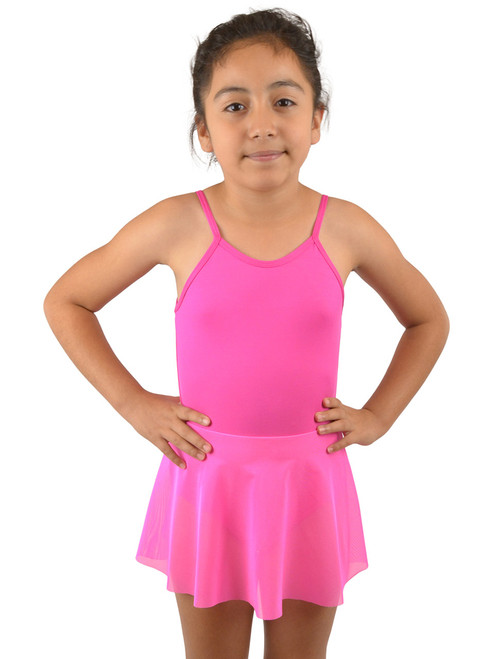 Vivian's Fashions Dancewear - Girls Straps Attached Mesh Skirt Leotard
