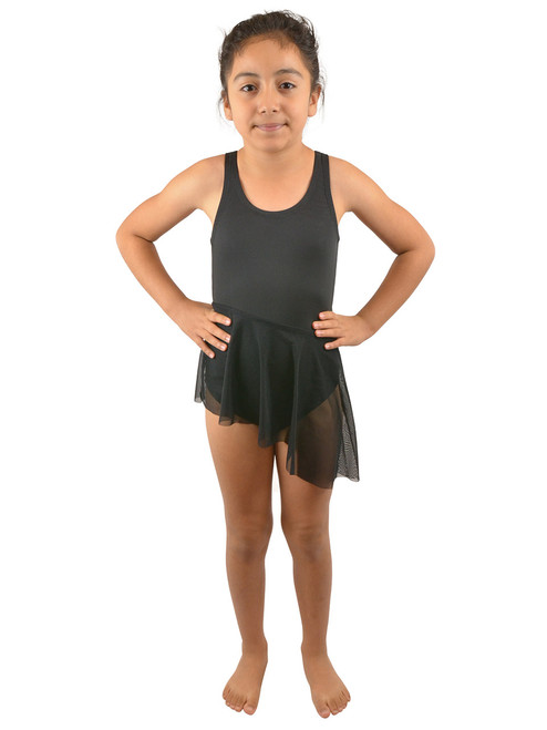 Vivian's Fashions Dancewear - Girls Attached Asymmetric Mesh Skirt Leotard