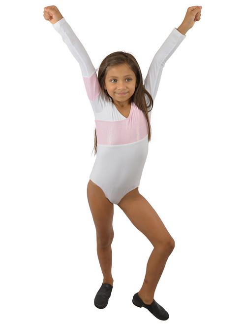 Vivian's Fashions Dancewear - Girls Glitter Panel Long Sleeves Leotard