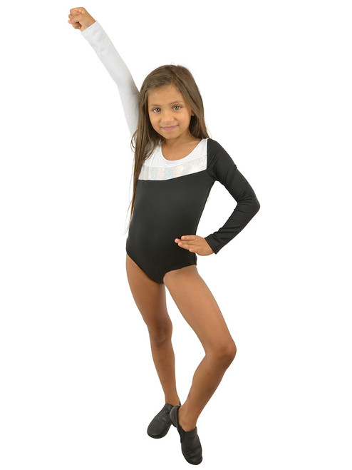 Vivian's Fashions Dancewear - Girls Glitter Panel Leotard