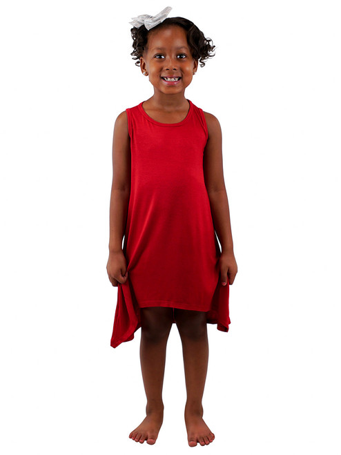 Girls Short Dress - Cute Sleeveless Asymmetric Hemline Dress