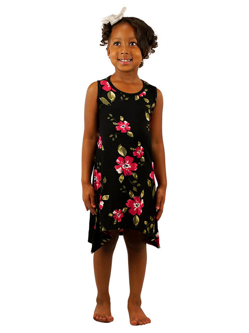 Vivian's Fashions Girls Print Dress - Print Asymmetric Hemline Dress
