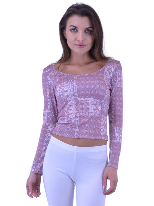 Top - Printed Crop Top, Long Sleeves