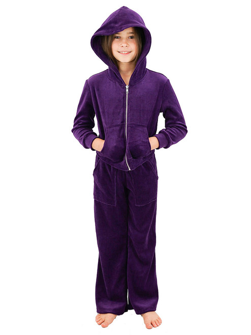 Velour Hoodie Set - Girls Jacket With Pant, Pockets, Silver Zipper
