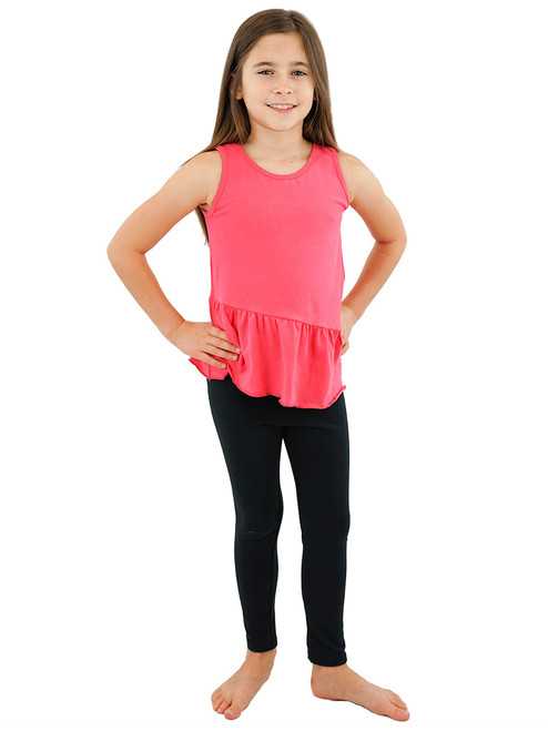 Girls Sleeveless Top Tank - Attached Ruffled Peplum