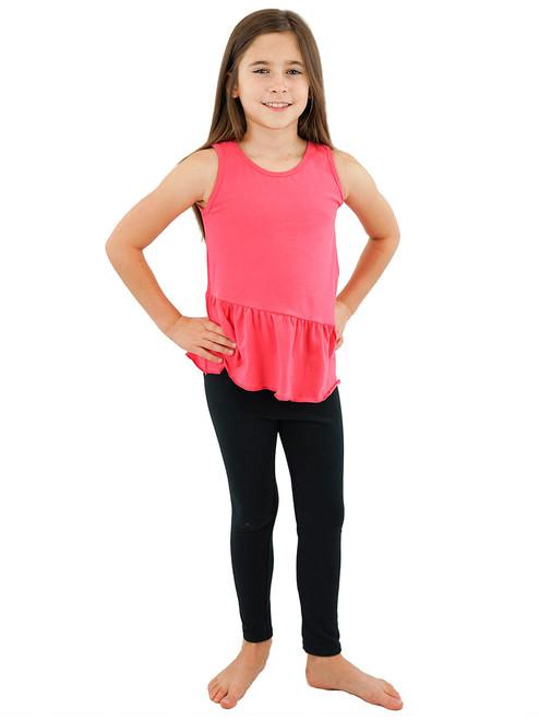Girls Sleeveless Top Tank - Attached Ruffled Peplum