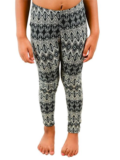 Girls Print Long Legging - Aztec Or Floral Print Design