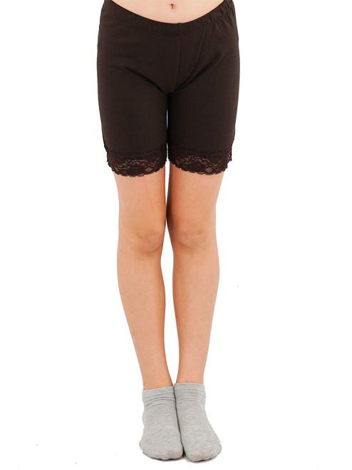 Girls Biker Length Legging - Floral Lace Trim
