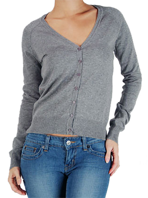Short Cardigan - Button Up Sweater, Long Sleeve