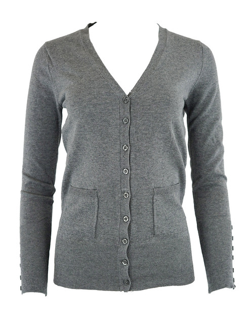 Women Crop Cardigan - Button Up Sweater, Two Pockets