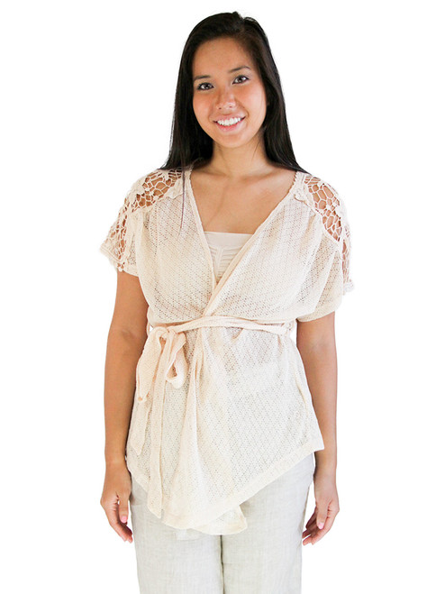 Knit Lace Cardigan - Waist Strap Sweater, Plus Sizes