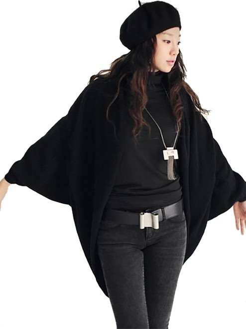 Women Shrug-Style Sweater, 3/4 Bat Sleeve