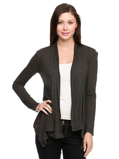 Handkerchief Hemline Cardigan - Long Sleeve
