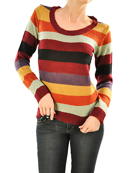 Knit Striped Sweater - Colorful, Long Sleeve