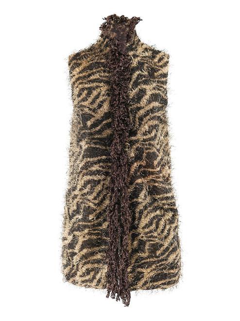 Women Fluffy Leopard Vest