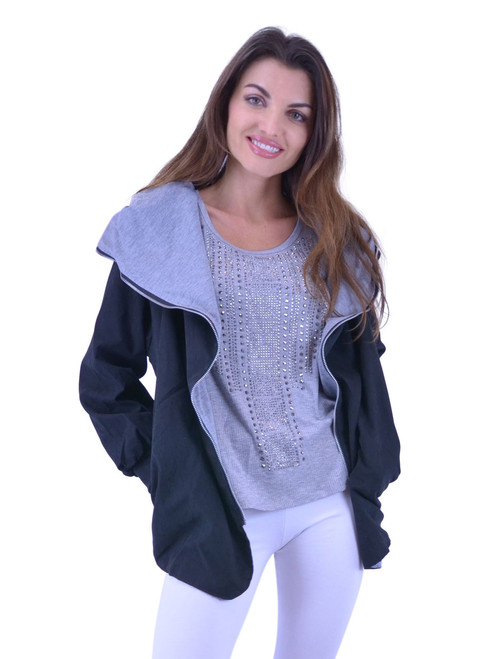 Hoodie Jacket - Zipper, Two Pockets, Plus Sizes