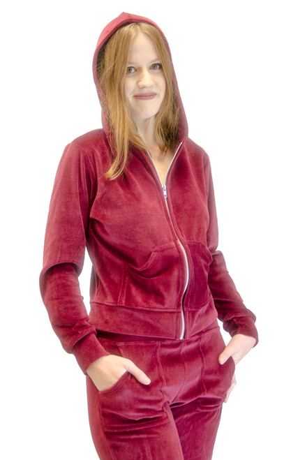Velour Hoodie Sweat Jacket