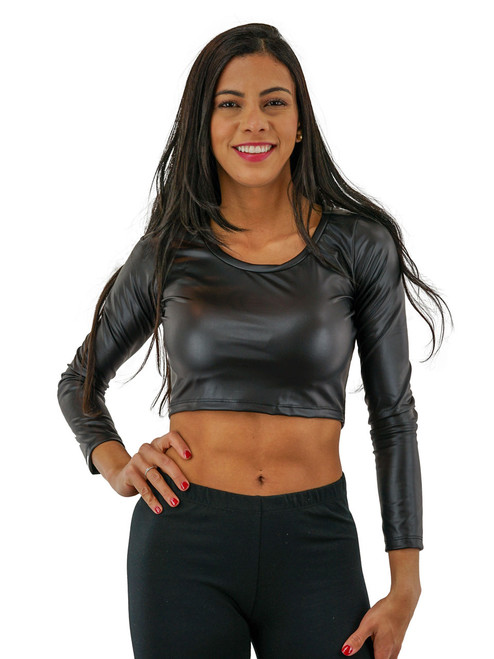Leather Crop Top - Long Sleeve