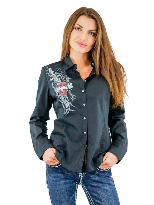 Women's Shilo Long Sleeve Western Woven Shirt Black