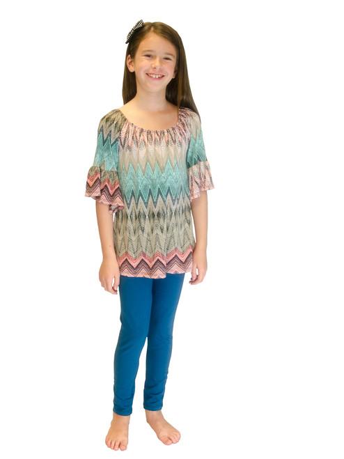 Top - Cute Girl Printed Top with 3/4 Length Ruffled Sleeves