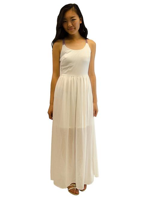Double Zero Ivory Embroidery Strap Maxi Dress