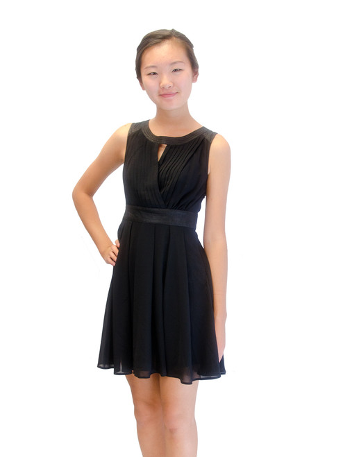 Junior Black Pleated Chiffon Mini Dress