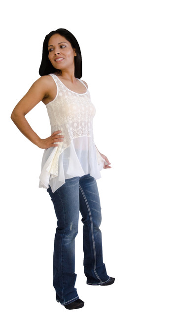 Milkyway Women Sleeveless Lace and Chiffon Top