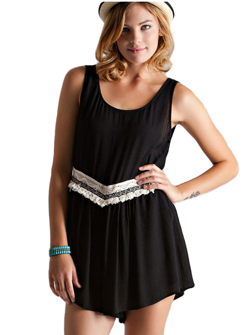 Entro Crochet Lace Romper with Hidden Side
